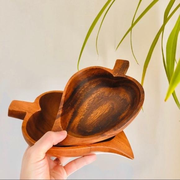 Wooden Heart Leaf Medium Organizing Storage Bowls